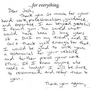 Josh Mactaz - Hand Written Testimonial